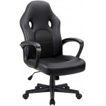 Furmax Office Desk Leather Gaming High Back Ergonomic Adjustable Racing Task Swivel Executive Computer Chair Headrest and Lumbar Support Black Office Products B01LXXM5EK