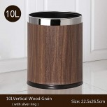 GohomeLoby Metal Trash Can Double Cans Top Open Without Lid Waste Bin Hotel Office Wastebasket Walnut Leather Silver Ring Office Products B07QTXZ6R3