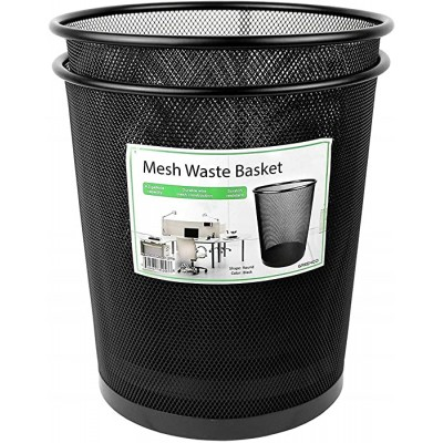 Greenco GRC2586 Mesh Round Wastebasket Trash Can 4.5 Gallon Black 2 Pack Office Products B01HQO5FSO
