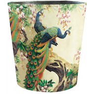 HMANE 10L 2.64 Gallon PU Leather Trash Can Peacock Decorative Waterproof Wastebasket Paper Basket Garbage Bin for Home Office Bathroom Peacock Pattern Office Products B085DS89B6