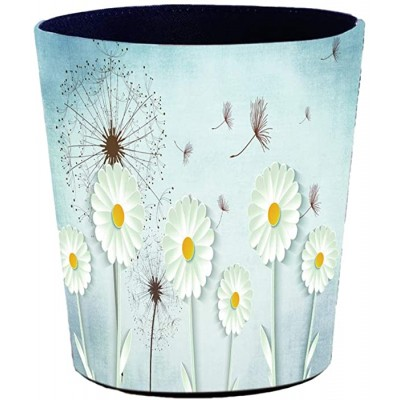 HMANE 10L 2.64Gallon PU Leather Trash Can Decorative Flowers Pattern Waterproof Wastebasket Paper Basket for Home Office Bathroom Office Products B07SX478YW
