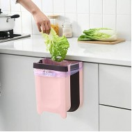 Hanging Trash Can for Kitchen Cabinet Door Compact Portable Foldable Garbage Can Small Collapsible Waste Bin for Bathroom Bedroom Office Car 9 liters 2.4 Gallon Pink Office Products B086W5LCT4