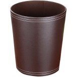 Haoun Deskside Wastebasket Vintage Garbage Can Round Trash Can Without Lid PU Leather Recycling Bins for Kitchen Bedroom Office Coffee Office Products B07BGX7ZM4
