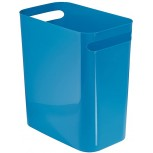 InterDesign UNA Rubbish Bin with Handles Plastic Wastepaper Bin for Office Kitchen or Bedroom Blue Office Products B00J6UWJDG