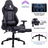 KILLABEE Big and Tall 350lb Massage Gaming Chair Metal Base - Adjustable Massage Lumbar Cushion Retractable Footrest High Back Ergonomic Leather Racing Computer Desk Executive Office Chair Office Products B07FD6S3ZJ