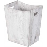 Nandae Wood Square Wastebasket Trash Can Farmhouse Style Recycle Bin for Bedroom Living Room Bathroom Kitchen Office Grey White Office Products B07WT3FL2L