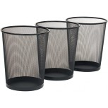 Seville Classics 3-Pack Round Mesh Wastebasket Recycling Bin 6 Gal 12 Diameter Top x 14 H Black Office Products B0041EJX86