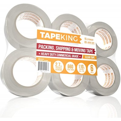 Tape King Clear Packing Tape - XL 110 Yards Per Roll 6 Rolls - 1.88 Inch Wide Stronger & Thicker 2.7mil Heavy Duty Adhesive Industrial Depot Tape for Moving Packaging Shipping Office & Storage Office Products B01K82EQ54