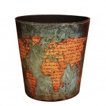 Wastebasket Samyoung European Style World Map Pattern PU Leather Paper Basket Trash Can Dustbin Garbage Bin. Office Products B01G37AUY4