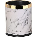 XFENG Luxury Metal Waste Bin with Leather Cover Open Top Office Wastebasket Double Layer Trash Can Round Shaped Color Gold Office Products B07X37VYVZ