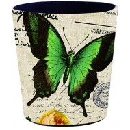 XSHION Trash Can 10 L Wastebasket Decorative Waste Paper Basket Waterproof PU Leather Garbage Can Office Waste Bin Living Room Recycle Bin Bedroom Dustbin Kitchen Waste Container- Green Butterfly Office Products B07QZCCKWB