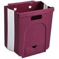 YEARCHY Hanging Trash Can for Kitchen Foldable Collapsible 2.2 Gallon Garbage Waste Bin Cabinet Door Wall Mounted Bedroom Bathroom Office Camping Cabinet Car 2.2 Gallon 8L Red Office Products B08J74G2VY