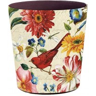 Yamix Decorative Trash Can Bathroom Wastebasket - 10L Retro Style Paper Basket Garbage Can Garbage Container Bin for Bathrooms Kitchens Home Offices Red Bird Office Products B07PS59NWH
