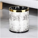 ZAZA Bins Trash Can Leather+Metal Paint Open Top Office Wastebasket,Double Layer 10 L 2.6Gallone Dustbins ,for Bathroom Bedroom Office Decorative Urns Color White Marble Pattern+Gold Office Products B08KPTDSZT