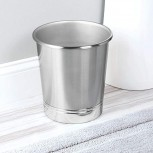 iDesign York Metal Wastebasket Trash Can for Bathroom Kitchen Office Bedroom 9.5 x 9.5 x 10.25 - Brushed Nickel and Chrome Office Products B003VQQLYO