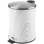mDesign 5 Liter Hourglass Small Metal Step Trash Can Wastebasket Garbage Container Bin for Bathroom Powder Room Bedroom Kitchen Craft Room Office - Removable Liner Bucket - Gray Wood Brushed Office Products B07QHHMC4B