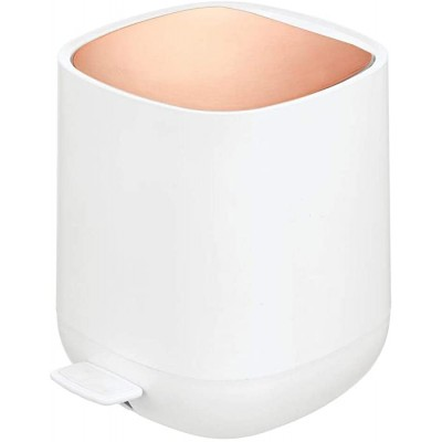 mDesign Modern 1.3 Gallon Plastic Step Trash Can Wastebasket Small Garbage Container Bin - for Bathroom Powder Room Bedroom Kitchen Craft Room Office - Removable Liner Bucket - White Rose Gold Office Products B07SLD5X8G