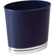 mDesign Oval Slim Decorative Plastic Small Trash Can Wastebasket Garbage Container Bin for Bathrooms Kitchens Home Offices Dorm Rooms - Navy Blue Chrome Office Products B06X19F6YR