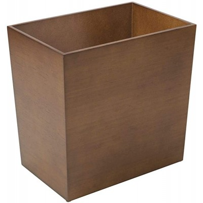 mDesign Rectangular Narrow Wood Trash Can Wastebasket Small Garbage Container Bin for Bathrooms Kitchens Home Offices Craft Rooms - Bamboo Veneer Brown Office Products B07QMYHM7Y