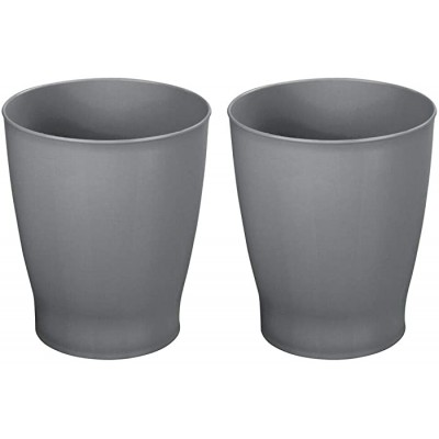 mDesign Slim Round Plastic Small Trash Can Wastebasket Garbage Container Bin for Bathrooms Powder Rooms Kitchens Home Offices Kids Rooms - 2 Pack - Charcoal Gray Office Products B073WHSVBC