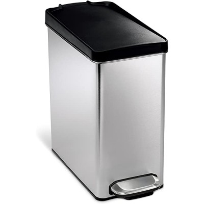 simplehuman 10 Liter 2.6 Gallon Bathroom Slim Profile Trash Can Brushed Stainless Steel with Plastic Lid Office Products B0015YJ9WA