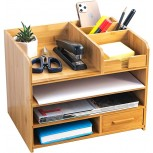 Bamboo Desktop Organizer | Home Office Bamboo Desk Drawer Organizer - 4 Tier Durable Wood Table Top Storage for Pencils Notepads Documents & Office Supplies Office Products B084ZWZRX2