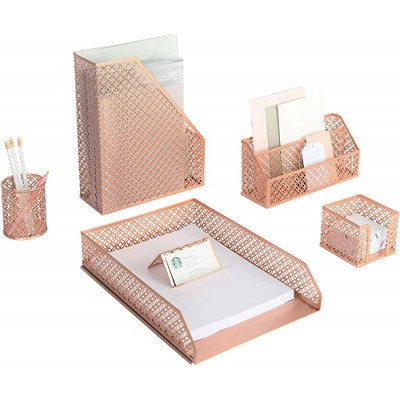 Blu Monaco 6 Piece Rose Gold Desk Organizer Set - Desk Sets- Office Set- Rose Gold Desk Accessories - Desktop Organization Office Products B08CNNDCD1