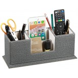 Fanousy PU Leather Desk Organizer with 4 Compartment Pen Holder Pencil Caddy Office Supplies Desktop Storage Box for Business Card Mobile Phone Remote Control stationery Study Collection Office Products B08BHYCLD3