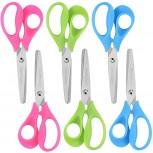OneName 5 Left-Handed Kids Scissors 6 Pack School Student Scissors Stainless Steel Sharp Blade Soft mfort-Grip Handles Blunt Small Safety Scissors for Kids Crafting Cutting Paper Gifts for Children Office Products B08B5C7JH5
