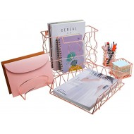 PAG Rose Gold Office Supplies 5 in 1 Desk Organizer Set Includes Hanging Wall File Holder Letter Tray Mail Sorter Pencil Holder and Sticky Note Holder Office Products B077HQV75K